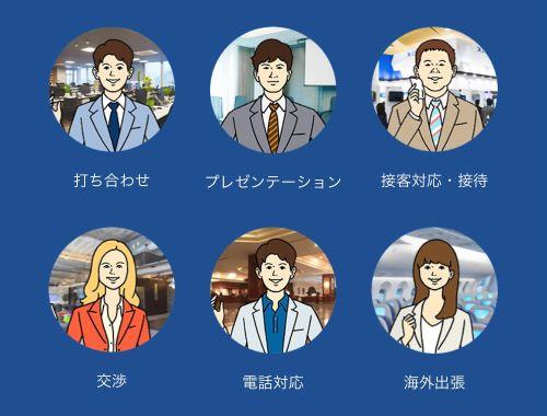 スタディサプリENGLISHビジネス英語コースのドラマ式レッスンは打ち合わせ、プレゼン、接客・接待、交渉、電話、海外出張など様々なビジネスシーンを網羅